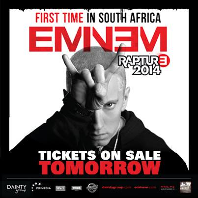 2013.11.19 - Eminem Rapture 2014 Tour hits South Africa for 2 shows ONLY