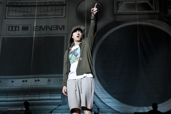 Eminem performs during Day 1 of Lollapalooza 2014 at Grant Park in Chicago, Illinois on August 1, 2014