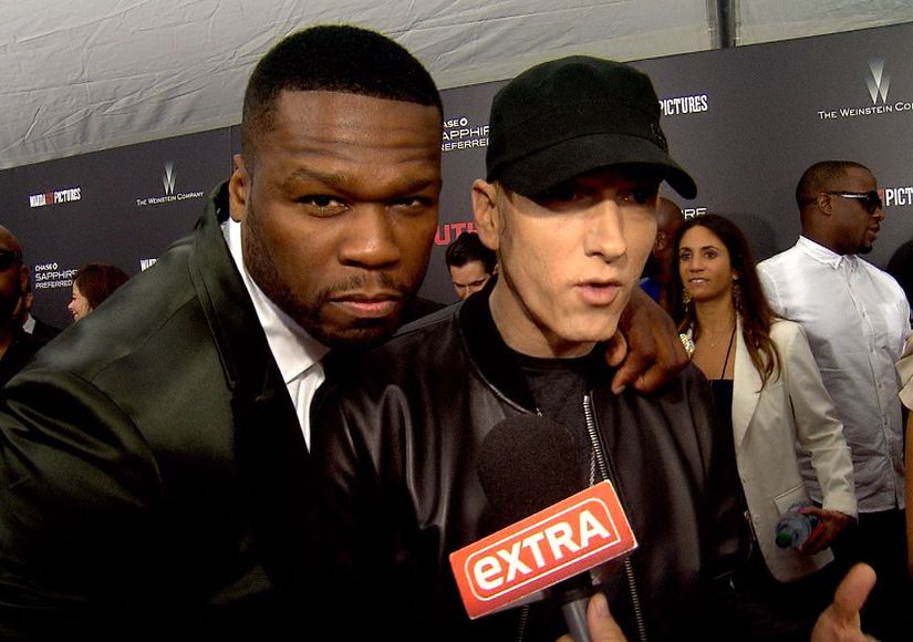 2015.07.22 - 50 Cent Crashes Eminem's Extra Interview at Southpaw Premiere