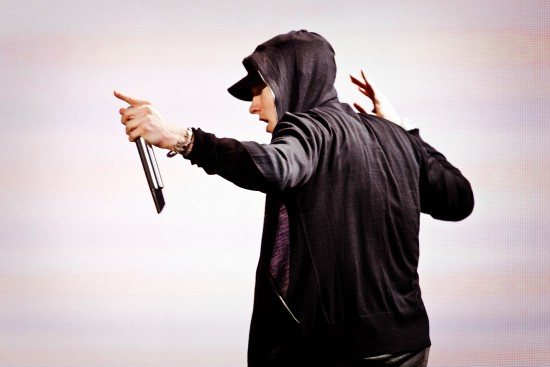 13 Sep 2010 --- USA - Music - Grammy Award winning American rapper Eminem performs in support of his album 'Recovery' on the 'Home and Home' tour at Yankee Stadium in New York. --- Image by © Chad Batka/Corbis
