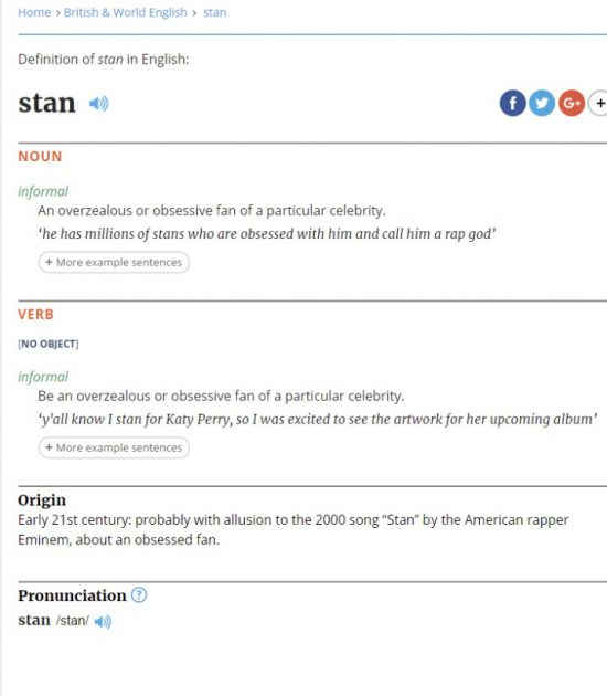 When 'Stan' dropped in 2000 it became one of Eminem's most enduring hits. There's a big difference, however, between a great track and one with real cultural impact. 'Stan' was both and the word quickly went into common use. It may have taken 17 years but the word has gained official recognition, Eminem credits and all.