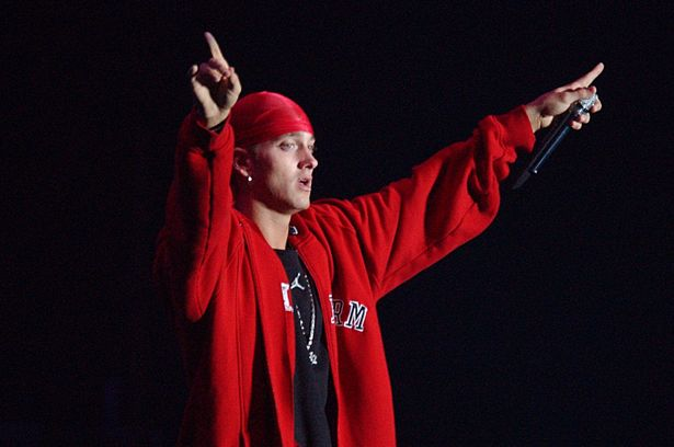 Eminem on stage at the Gig on the Green Festival in Glasgow Green