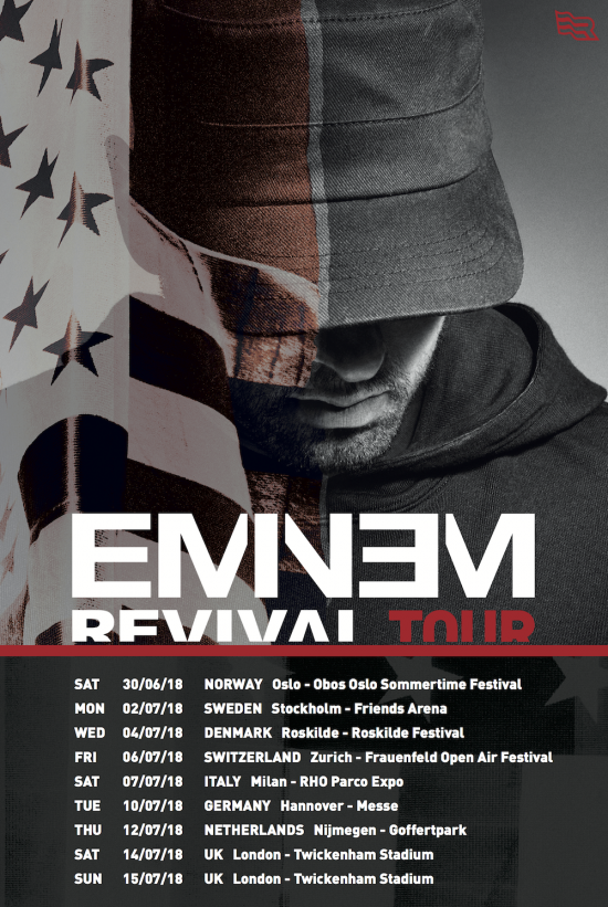 Eminem is heading for a European tour to support his Revival album