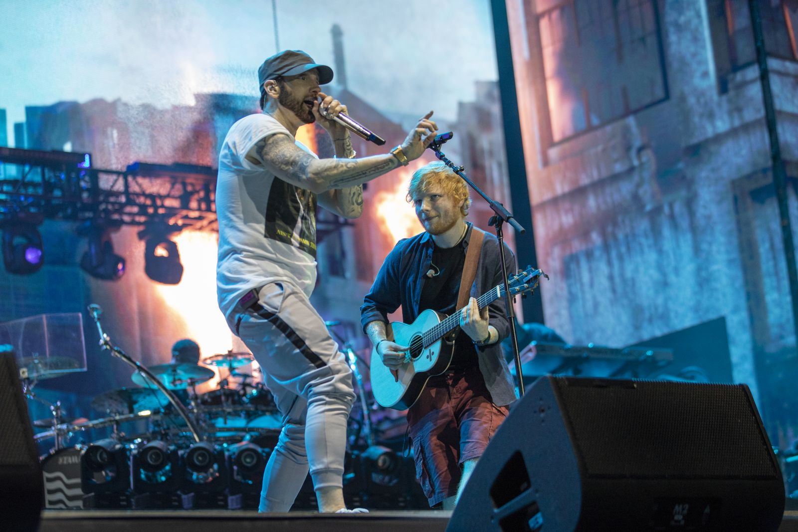 Eminem had published a professional video of him and Ed Sheeran performing in London