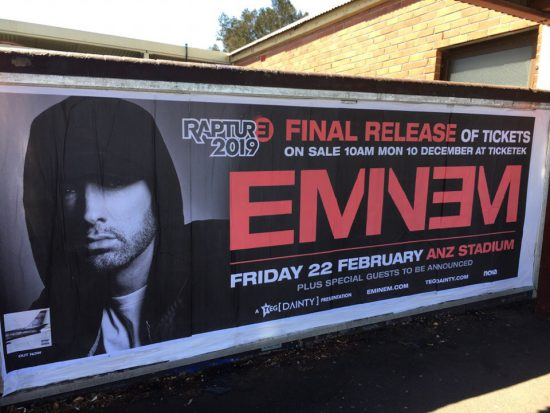 Eminem had announced the final release of tickets to his concert in Sydney on 22nd of February