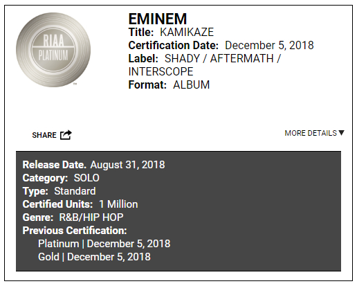 "It's official!! ""Kamikaze"" is now ""Platinum"" in US!"