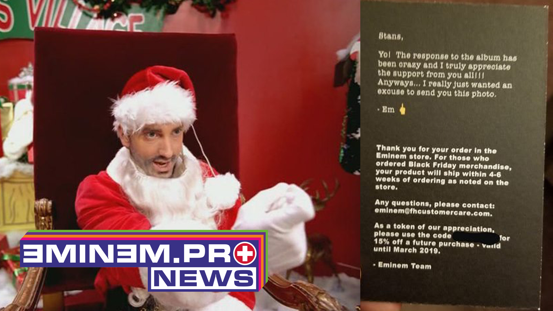 Eminem is sending Christmas cards to fans