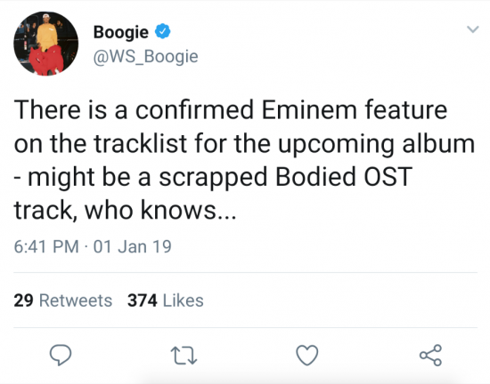 Did Boogie confirm the collaboration with Eminem on his debut Shady Records' album?