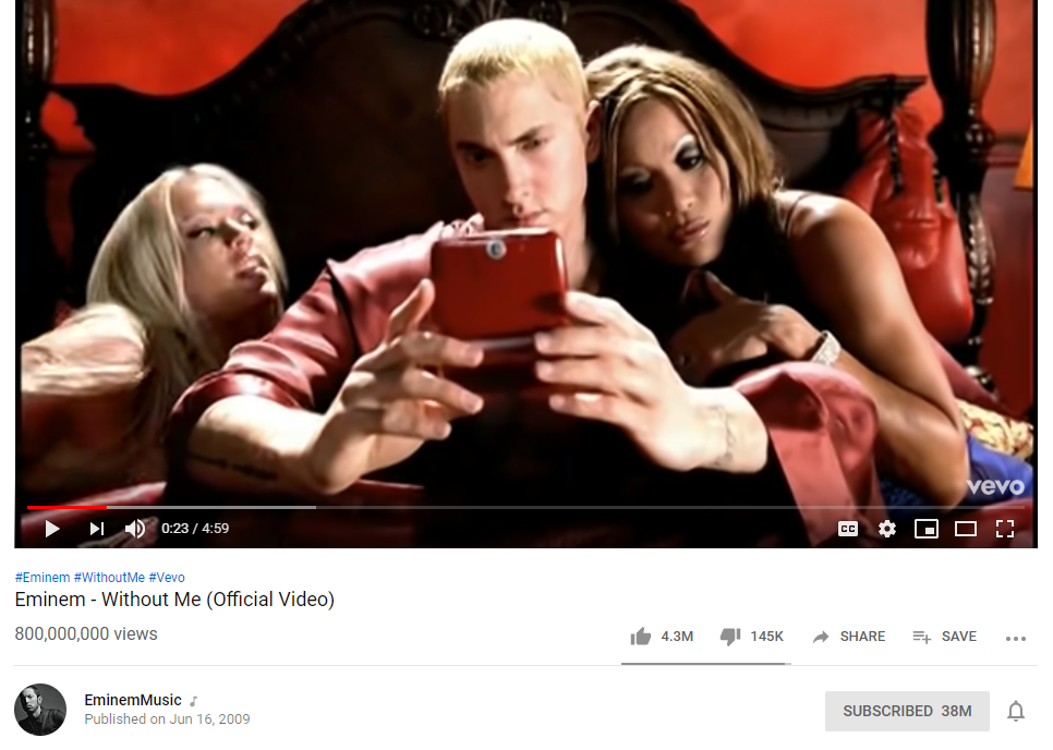 """Eminem's """"Without Me"""" Has Surpassed 800M Views on YouTube"""