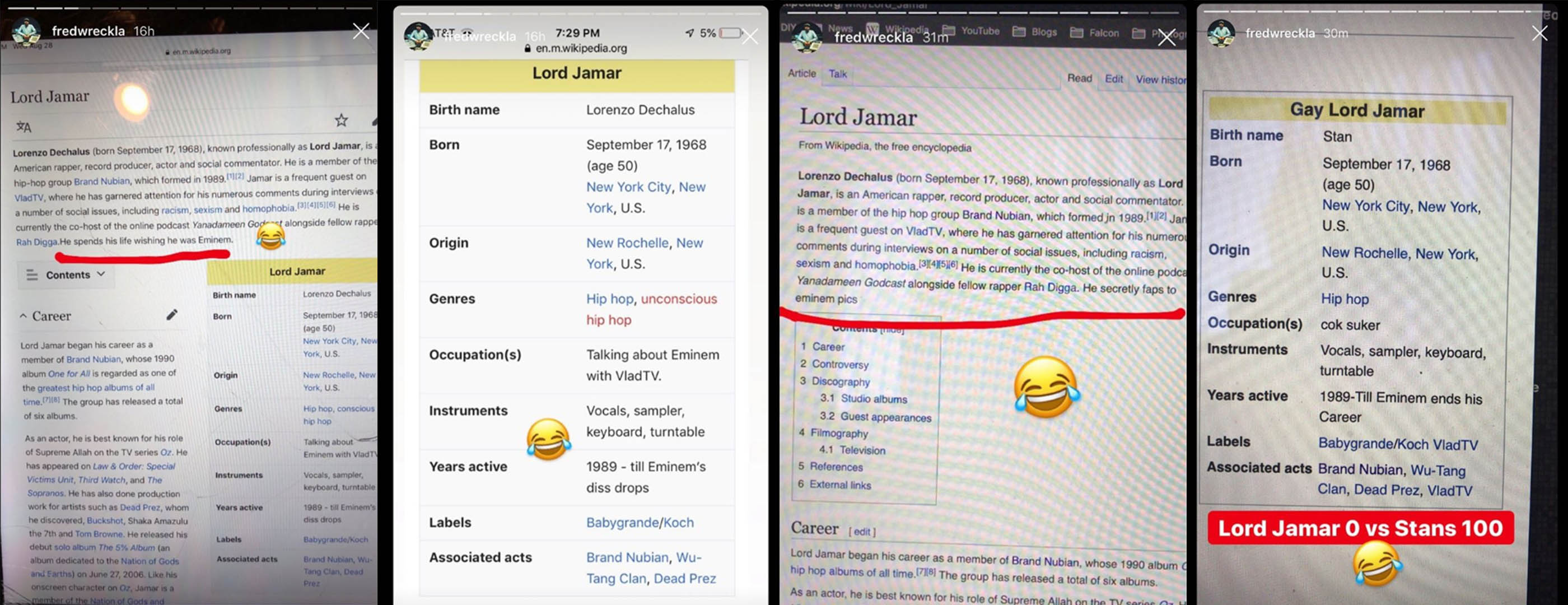 "Fans also kept busy and decided to teach Jamar a little , ""updating"" the information on the pages about him on Wikipedia."