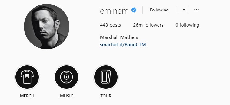 Creating an Instagram account for Eminem's store is not the last innovation. Earlier on his profile were set up stories sections related to his list of concerts, merchandise, and most importantly, to music.