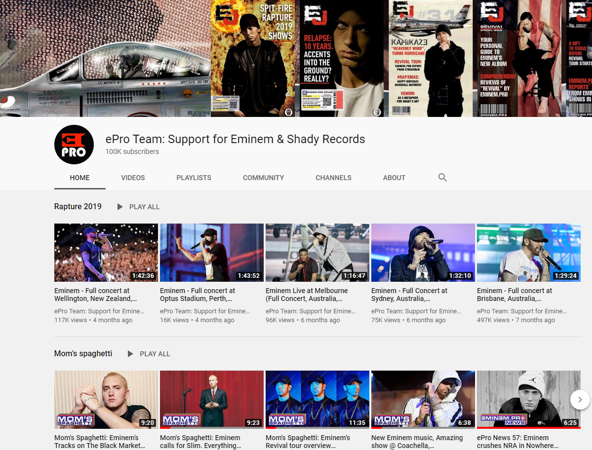 100,000 Eminem's fans choose our channel as a space to communicate and look for content, and we are happy that this large Shady family keeps growing!