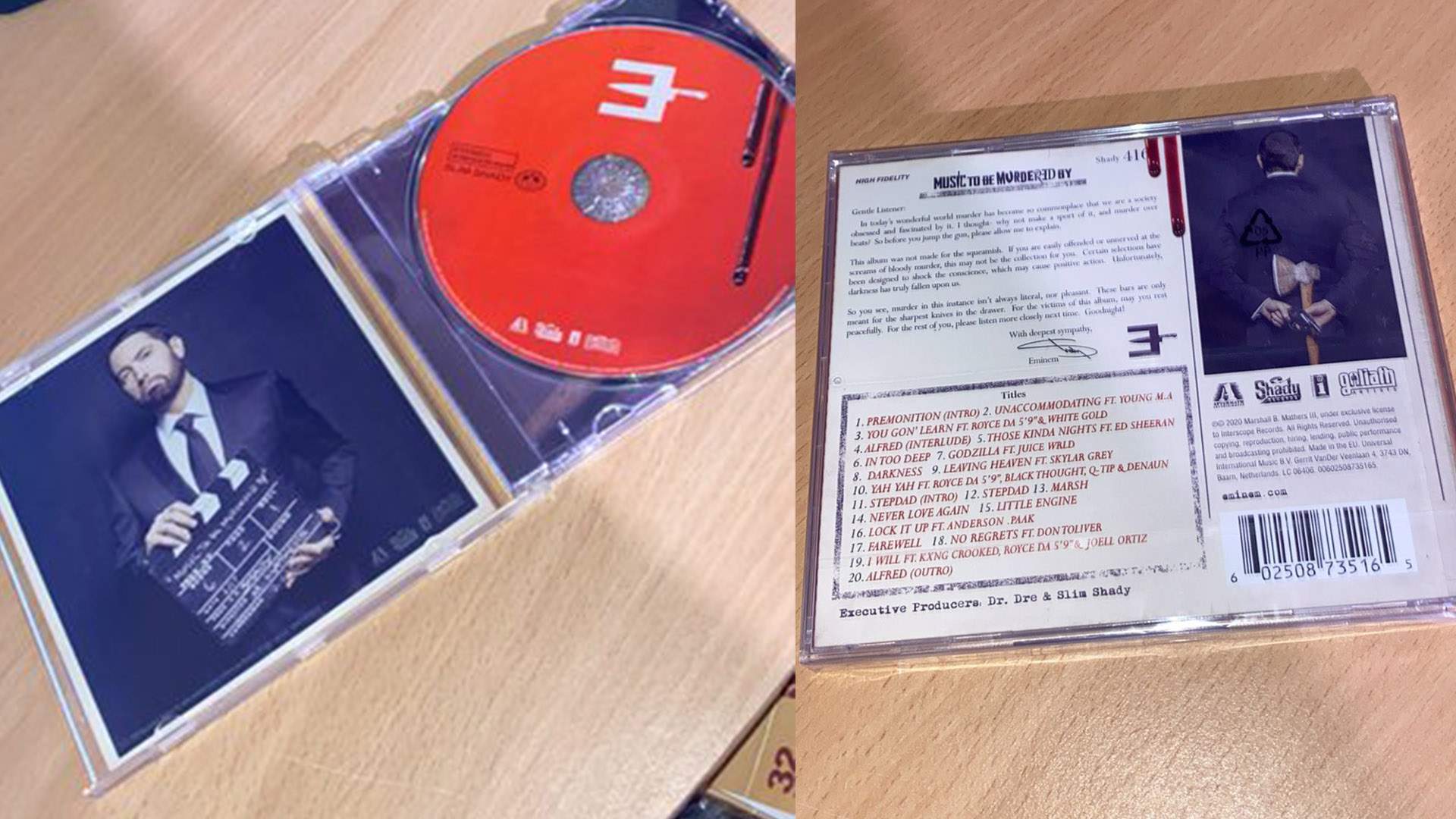 "See Pictures of Eminem's ""Music To Be Murdered By"" Album CD And Booklet"