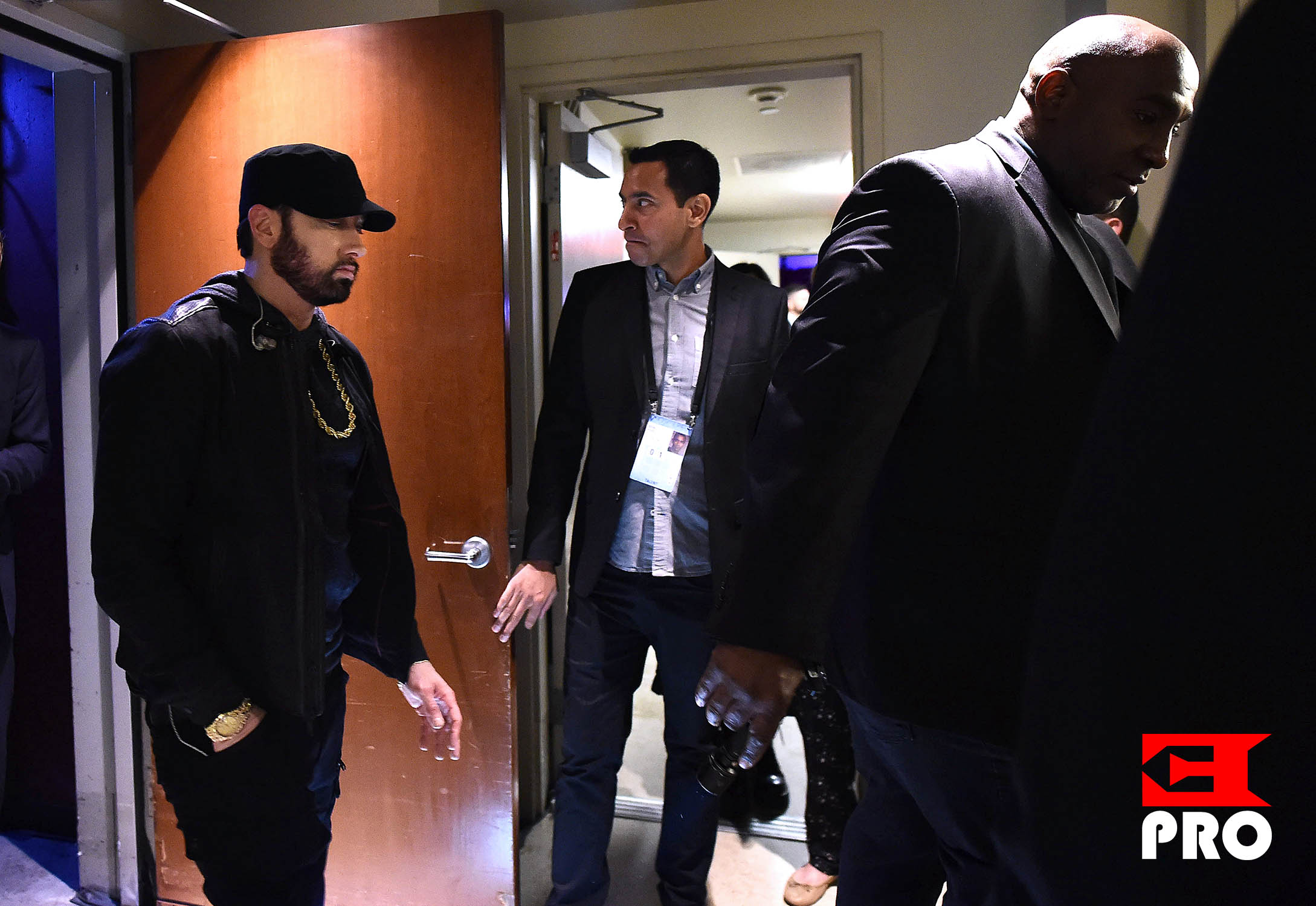 Eminem walks backstage during the 92nd Annual Academy Awards at the Dolby Theatre on February 09, 2020 in Hollywood, California. (Photo by Matt Petit)