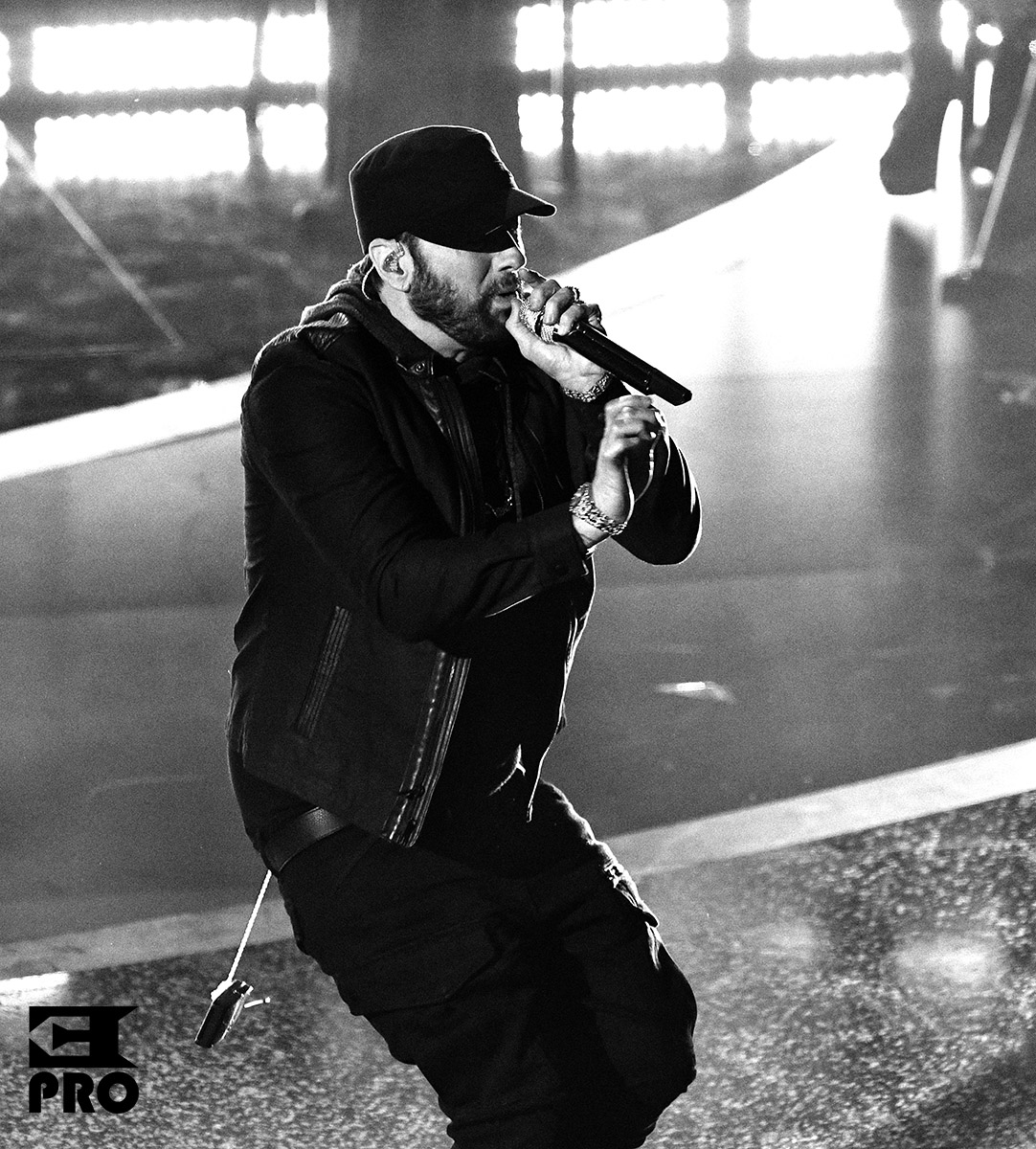 HOLLYWOOD, CALIFORNIA - FEBRUARY 09: (EDITORS NOTE: Image has been converted to black and white.) Eminem performs onstage during the 92nd Annual Academy Awards at Dolby Theatre on February 09, 2020 in Hollywood, California. (Photo by Kevin Winter/Getty Images)