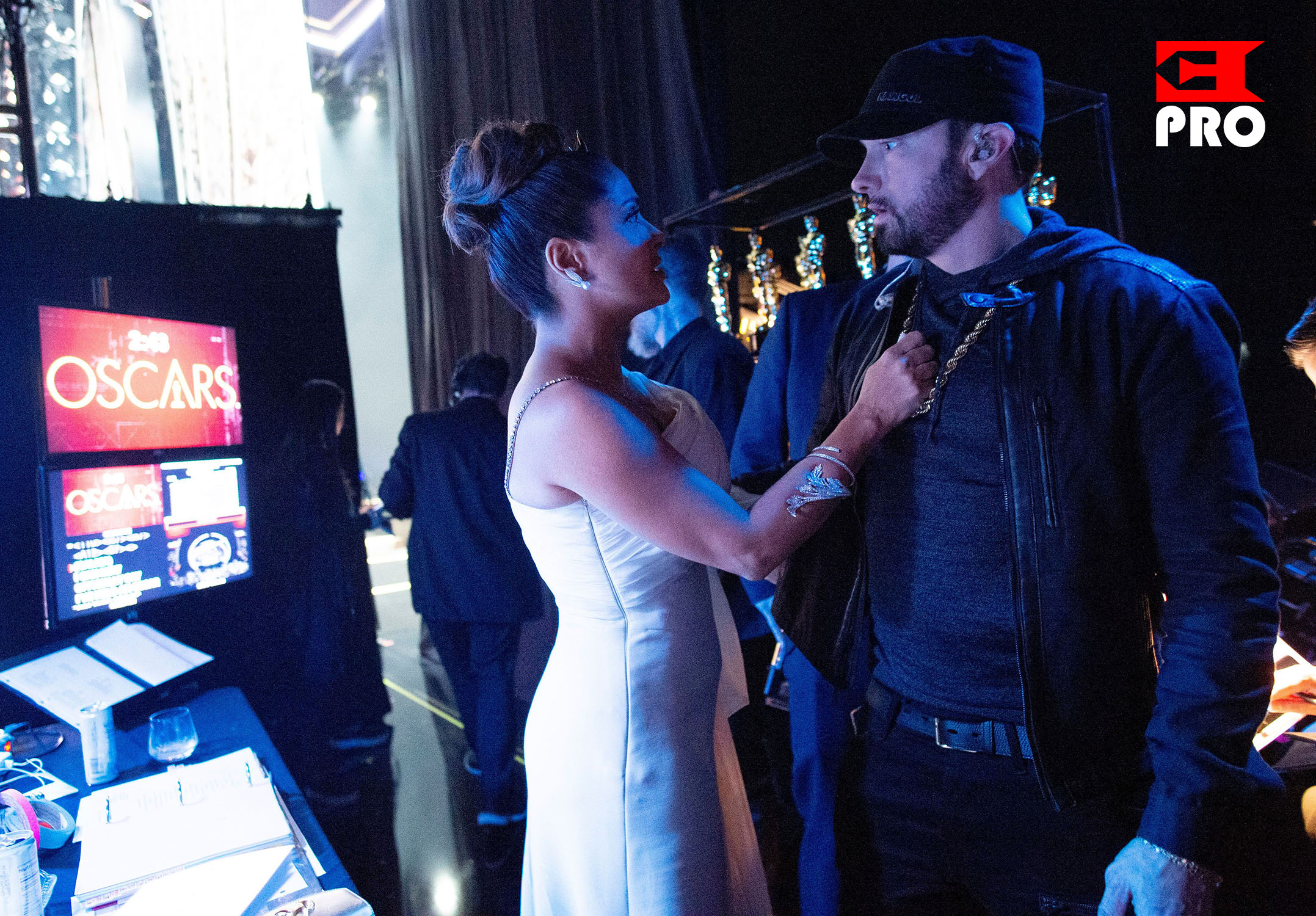 Eminem and Salma Hayek 92nd Annual Academy Awards, Backstage, Los Angeles, USA - 09 Feb 2020