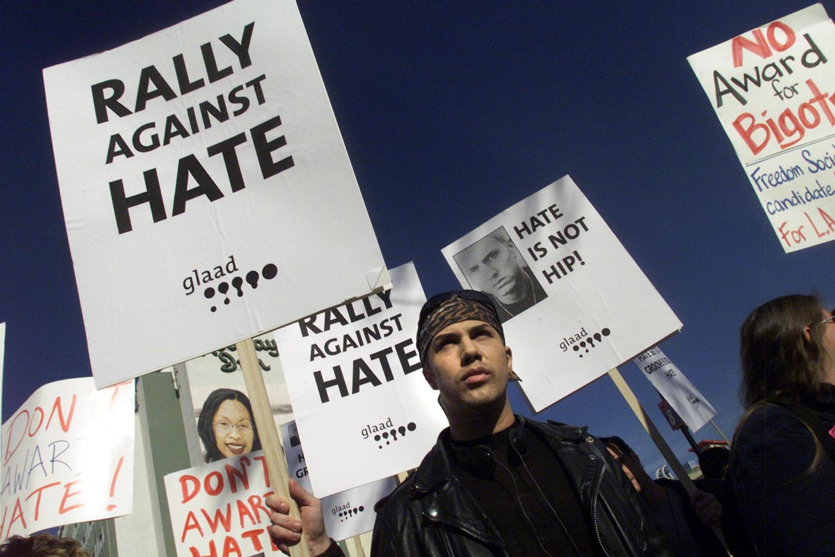 LOS ANGELES, UNITED STATES:  Gay and Lesbian Activists protest controversial Grammy nominated rap musician Eminem at a 21 February 2001, rally in front of the Staples Center in Los Angeles prior to the start of the 43rd Grammy Awards broadcast. Protesters are criticizing Eminem's lyrics as gay bashing. AFP PHOTO/Scott NELSON (Photo credit should read Scott Nelson/AFP/Getty Images)