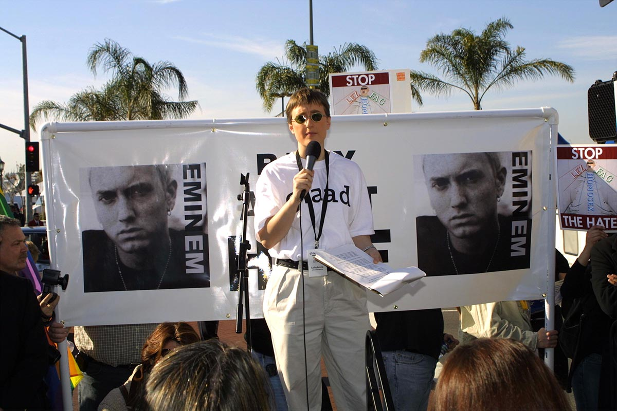 """385808 04: Activist Cathy Renna of GLAAD (Gay and Lesbian Alliance Against Defamation) speaks at """"The Rally Against Hate"""" February 21, 2001 outside the Grammy Awards at the Staples Center in Los Angeles, CA. GLAAD is leading a coalition to protest rapper Eminem's lyrics. (Photo by Jason Kirk/Newsmakers)"""
