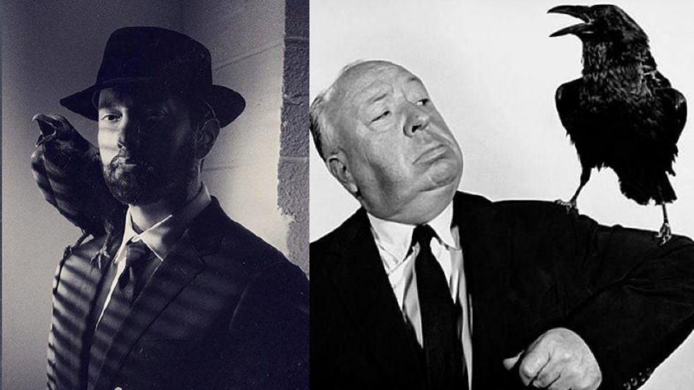"""Fan accounts from around the world started posting a cover art for a new Deluxe Edition of """"Music To Be Murdered By"""". Holding on to the original album design, it also features a recent picture with Eminem in it resembling Alfred Hitchcock's promo for his iconic movie """"Birds""""."""