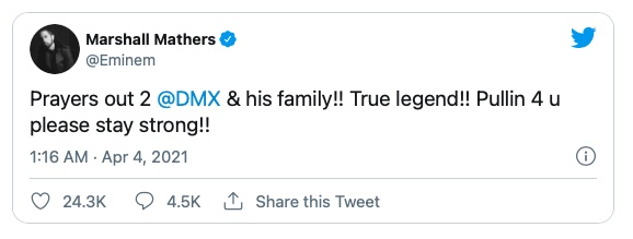 """Eminem: """"Prayers Out To DMX & His Family!! True Legend!! Please Stay Strong!!"""""""