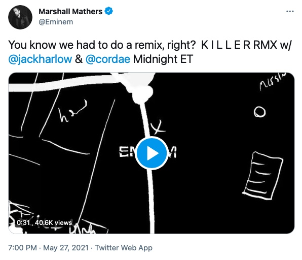 """Eminem Announced """"Killer"""" Remix with Cordae and Jack Harlow"""