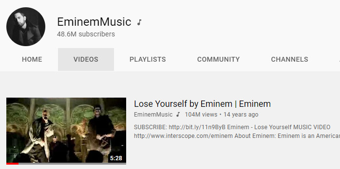 """Eminem  — """"Lose Yourself""""  Official Video Back on YouTube"""