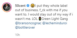 """50 responded back to Gotti: """"I put their whole label out of business, f**k with me if you want to. I would stay out of my way if I was not me."""""""