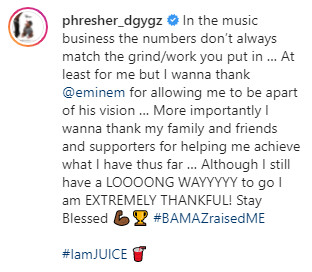 PHresher Shares His Plaque For Joint With Eminem