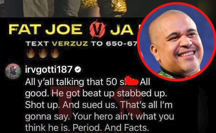 """Irv Gotti reacted to it on his Instagram account: """"You all talking that 50 shit, all good. He got beat up, stabbed up.... That is all I am going to say. Your hero is not what you think he is"""""""